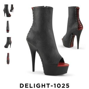 Pleaser Delight 1025 corset peep toe ankle boot